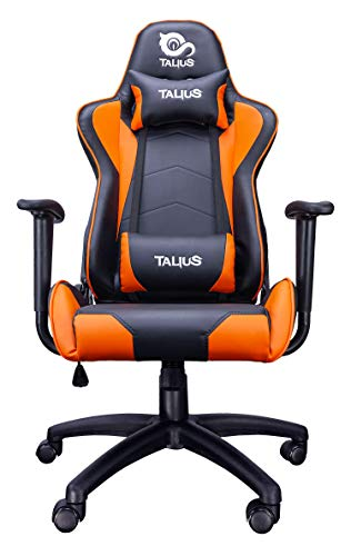 Talius Silla Gecko Gaming, Brazos fijos, Butterfly, Base Nylon, Ruedas Nylon, Gas Clase 4 (Naranja)
