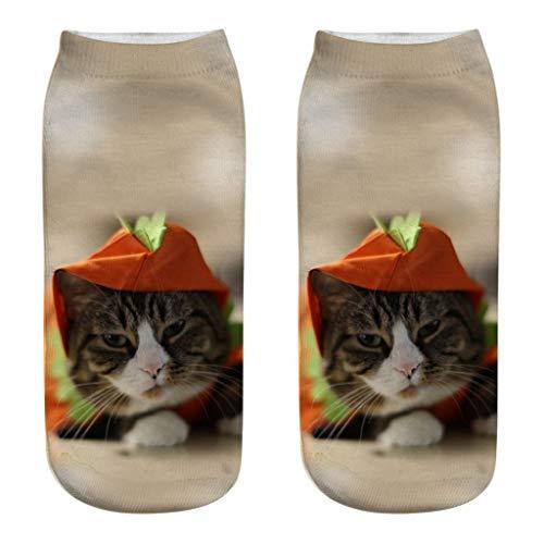 QUINTRA Socken 3D nette bunte Karikatur-rutschfeste Socken-Neuheit-verrückte lustige Katzen-Knöchel-kurze Socken