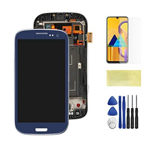 Pantallas LCD para teléfonos móviles Pantalla LCD Montaje digitalizador de Pantalla táctil con Marco/Ajuste para Samsung Galaxy S3 I9300 i9300i i9308i i9305 (Color : Blue)