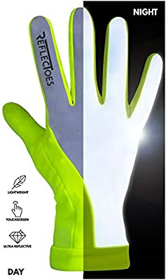 ReflecToes Reflective Running Gloves - Touchscreen - Lightweight Hi Vis Winter Running Gear for Cold Weather Jogging at Night (L)