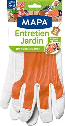 Mapa - Entretien Jardin - Gants de Jardinage en Cuir 100% Fleur de Chèvre Résistant - Textile Confortable avec Dos Aéré - Taille 6/S