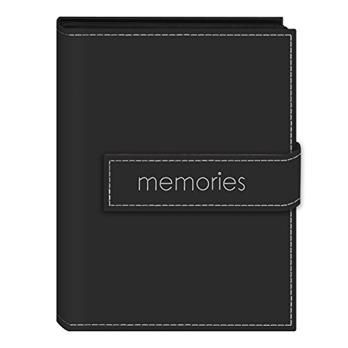 Pioneer Photo Albums EXP-57/BKM 36-Pocket 5 by 7-Inch Embroidered 'Memories' Strap Sewn Leatherette Cover Photo Album, Mini, Black