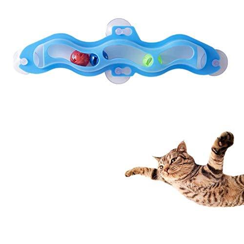 greatdaily Katze Trackball Fenster Saugnapf Ball Katzenspielzeug Interaktives Spielzeug, Spielzeugspur X 1/Glockenkugel X 3/Saugnapf X 4