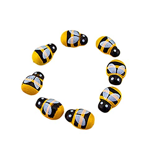 Jsmhh 100PCS / Lot Mini Bee Holz Marienkäfer Sponge Selbstklebende Aufkleber Kühlschrank/Wand-Aufkleber for Kinder Scrapbooking Baby-Spielzeug