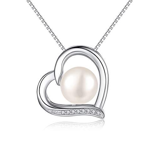 Collar de perlas rojas para mujer, plata de ley 925, circonita cúbica, collar de corazón con perla cultivada en agua dulce de 10 mm, viene con una exquisita caja de regalo de joyería azul cuadrado