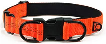 Garwor Reflective Dog Collar with Buckle Adjustable Safety Nylon Collars for Large Dogs L Orange product image