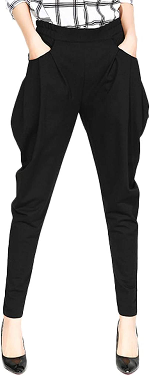 Absolufun Womens Comfortable Fit High Waist Black Casual Long Harem Pants with Pockets