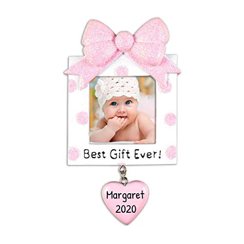 Personalized Present Picture Frame Christmas Tree Ornament 2019 - Square Pink Glitter Best Baby's 1st Photo Display Ever Girl's First New Mom Shower Milestone Memory Gift Year - Free Customization