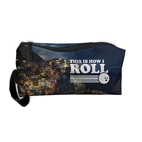 This Is How I Roll Funny Bowling Makeup Bag/Travel Cosmetic Bag/Brush Pouch Case With Zipper Carry Case