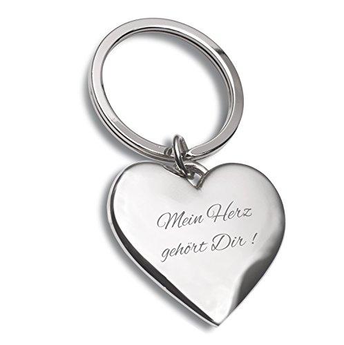 Laser Tattoo Schlüsselanhänger Herz Silber mit Gravur Mein Herz gehört Dir - Ideal als Geschenkidee am Valentinstag oder für Verliebte