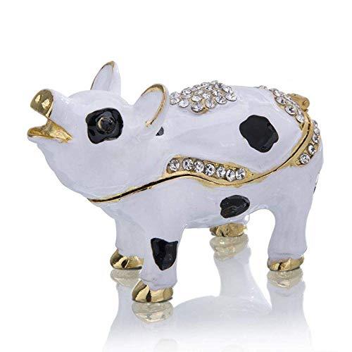 El joyero tiene una forma novedosa y única, un dis Caja de joyería pintada a mano Esmalte manchado de cerdo de metal Cajas de baratijas Cristal Bejeweled Animal Figurine Joyería Coleccionable Adorno R