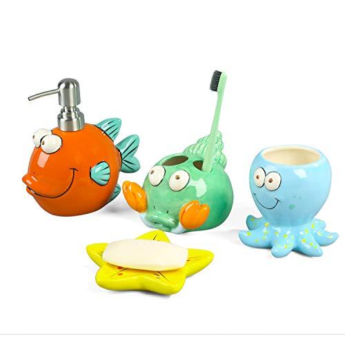 FORLONG FL3016 Ceramic Bathroom Accessories Set, 4 Piece 3D Nemo Fish Seashell Starfish Octopus Bathroom Ensemble Set with Toothbrush Holder, Toothbrush Cup, Soap Dispenser, Soap Dish