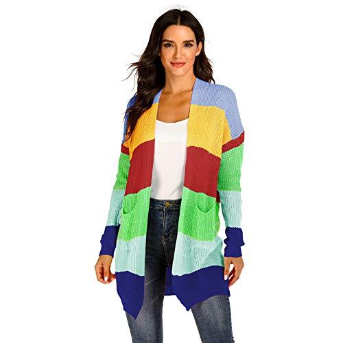 SLYZ Otoño E Invierno Mujer Color Mezclado Costura Color Raya Tejido Cardigan Suéter De Bolsillo Grande Chaqueta De Mujer