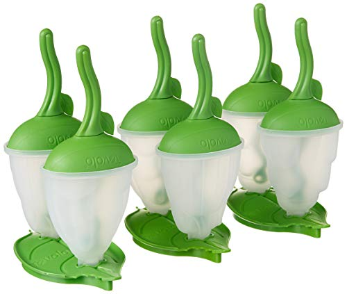 Moldes de picolé Tovolo Bug com bastões para fazer picolés de gelo, livre de BPA, Conjunto de 6 com suporte, verde