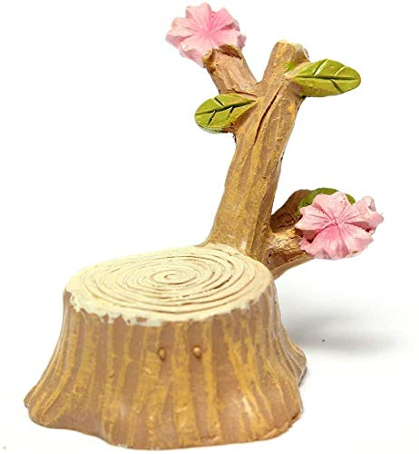 Hinleise Miniature Cherry Tree Stump Dollhouse Garden Fairy Ornament Pot Plant Craft for Micro Landscape Decor