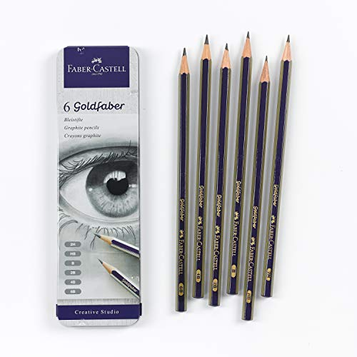 Faber-Castell Creative Studio Graphite Sketch Pencil Set – 6 Graphite Pencils (2H, HB, B, 2B, 4B, 6B)