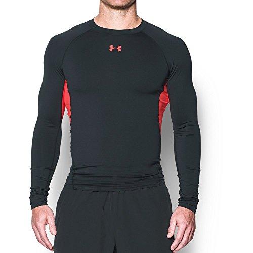 Under Armour Men's HeatGear Armour Compression Long Sleeve T-Shirt , Anthracite (016)/Marathon Red , Large
