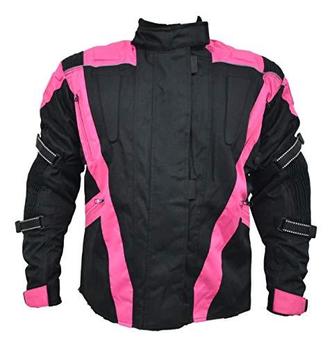Turin - Damen Motorradjacke - wasserdicht & mit Protektoren - schwarz & pink - Größe EU 54 - Brustumfang 129,5cm