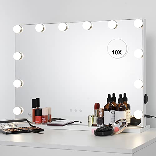 WAYKING Vanity Mirror with Lights Hollywood Lighted Makeup Mirror Large Tabletop or Wall-Mounted Comestic Mirror, 10X Magnification (L22.83 x H17.32 inch)