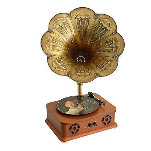 YLLYI Kreatives Antikes Bluetooth-Audio, Phonograph, Schallplattenspieler, Plattenspieler, Hölzerne Retro-Lautsprecher, Unterstützung Für DREI Geschwindigkeiten, 33,45,78