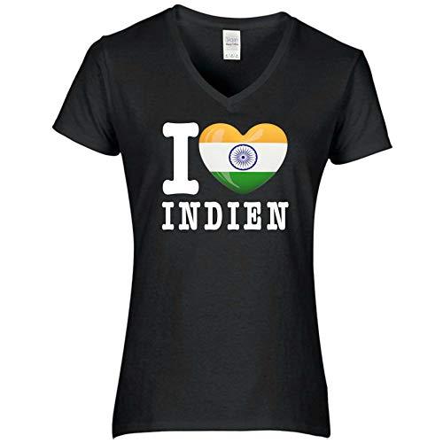 FanShirts4u Damen T-Shirt - I Love Indien India - WM Trikot Liebe Herz Heart (L, Indien/schwarz)