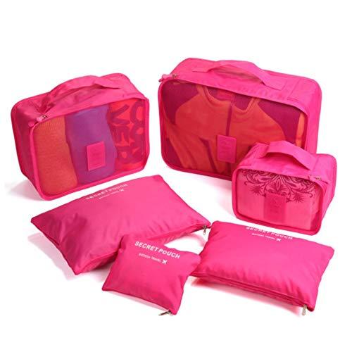 Beloved Set di 6 Organizer da viaggio per valigia - beauty case - salvaspazio - lavanderia - bagaglio a mano e trolley (Fucsia)
