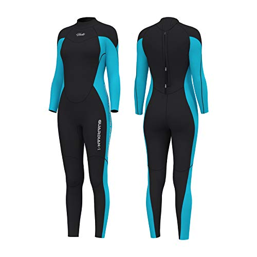 Hevto Wetsuits Women 3mm Neoprene Thermal Jumpsuit Scuba Diving Suits Snorkeling Swimming Adult Keep Warm Back Zip for Water Sports (Blue Women Ⅰ, L)