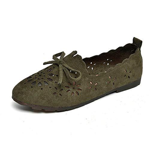 Las Mujeres Holgazanes Florales Mocasines se Deslizan en Punta Redonda Zapatos de Caminar Ligeros Confort de Gamuza sintética Suave