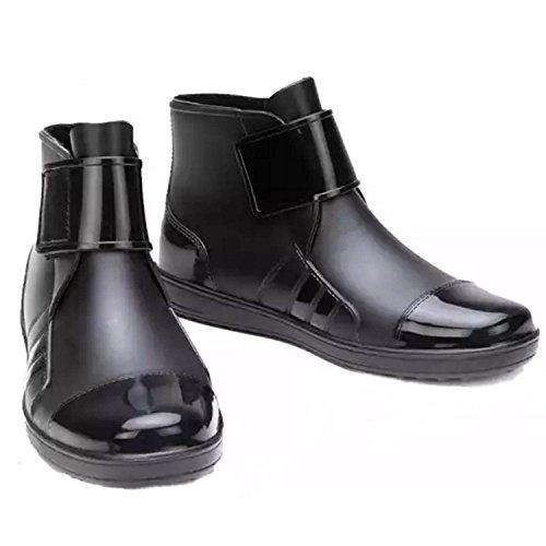 ANR メンズショート筒レインブーツ ノンスリップウォーターシューズ レインブーツ おしゃれレインブーツ 完全防水 ビジネスレインブーツ 作業靴 軽量 メンズ ショート 長靴 レインブーツ 防水 雨靴 長靴 全天候型 (26cm, ブラック)