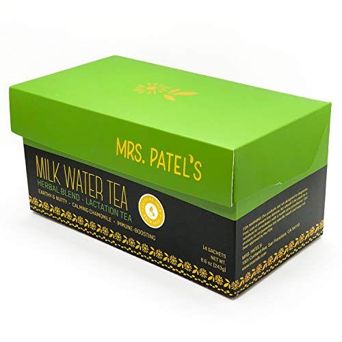 Mrs. Patel's Lactation Tea, Herbal Blend, Mild & Soothing, For Breastfeeding and Pumping Moms, Drink Iced or Hot, Caffeine Free, Gluten Free, Dairy Free, Fenugreek Free (14 Large Tea Bags)