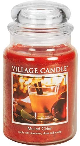 Village Candle Mulled Cider Large Glass Apothecary Jar Scented Candle 21 25 Oz Red Home Kitchen