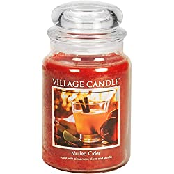 BEST FALL HOME DECOR IDEAS- BEST FALL SCENTED CANDLES Village Candle Mulled Cider 26 oz Glass Jar Scented Candle, Large