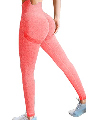 FITTOO Damen Lächeln Leggings Sexy Raffung Sporthose Nahtlose Scrunch Butt Push Up Laufhose Booty Lifting Yogahose Blickdicht Po Fitnesshose Honeycomb mit Hoher Taille Hose - Rosa S