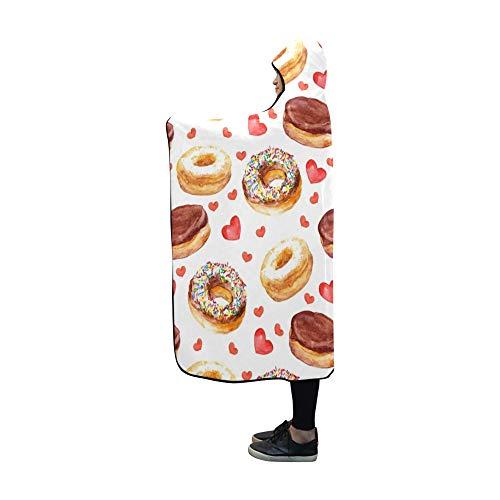 Rtosd Mit Kapuze Decke Wallpaper Donut Kuchen Herzen Decke 60 x 50 Zoll Comfotable Hooded Throw Wrap