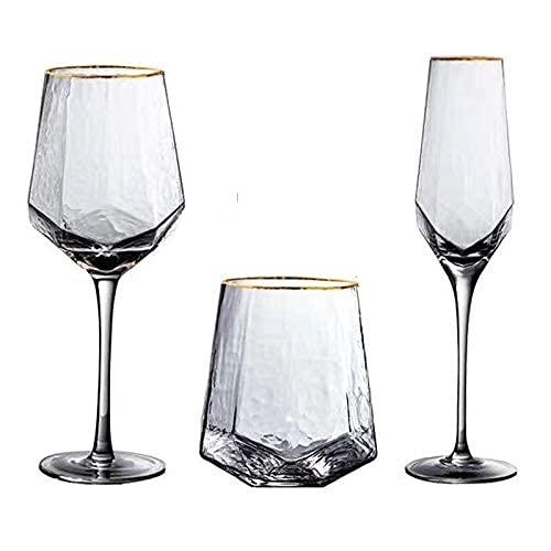 Kalami Juego de 2 copas de vino, copas de champán, copas de vino y copas de champán, juego de 2 piezas (oro 560 ml)
