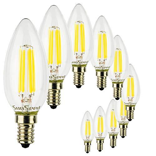 SunSeed® 10x Glühfaden LED Kerze Lampe E14 4W ersetzt 40W Neutralweiß 4000K