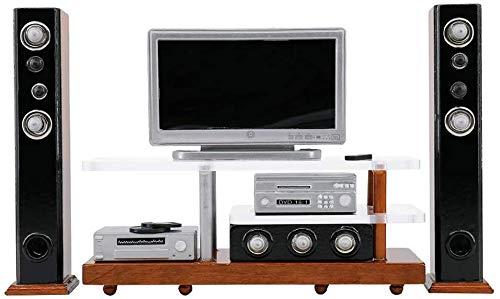 Jilibaba Mueble de televisión-escala 1:12 mini altavoz de televisión modelo casa de muñecas accesorios en miniatura