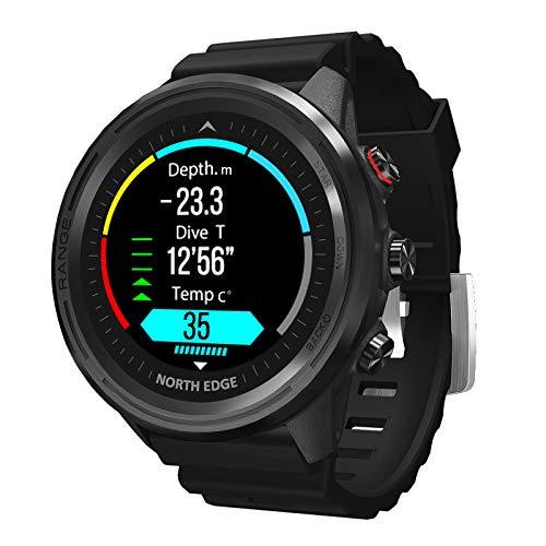 LKM Smart Sports GPS al Aire Libre GPS Reloj Impermeable Altitud Presión de Aire Compass Termómetro Tasa del corazón Multifuncional Reloj de Buceo,B