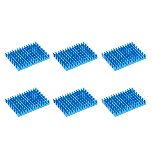 sourcing map 5x30x40mm Blue Aluminum Heatsink Thermal Adhesive Pad Cooler for Cooling 3D Printers 6Pcs