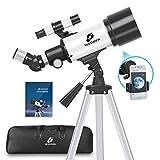 telescopio astronomico per bambini adulti, 70/400 telescopio professionale rifrattore portatile, ottimo telescopio per principianti per osservare luna e pianeti, 16x-120x