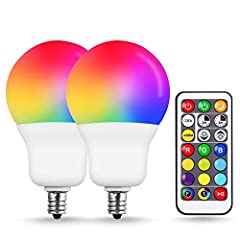 17 Dimmable Color Choices. This E12 base RGB bulb can not only emit colored lights, but also emit cozy warm white(2700k) and bright cool white light(6500k)(CRI>80). Each color can be dimmed by the remote control(5 grades of brightness). 2 Dynamic Lig...