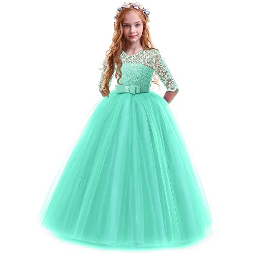 Flower Fancy Girl Long Sleeve Katie Lace Tutu Fairy Princess Pageant Dresses Kids Formal Prom Ball Gown for 6-14 Years Turquoise Green 7-8 Years