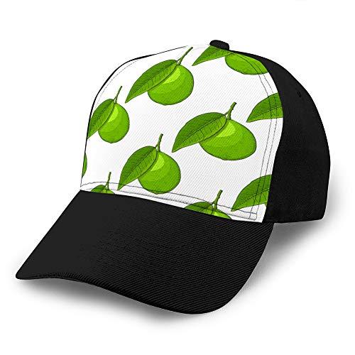 H03j4 Gorras de béisbol,Sombreros militares,Dad-Hats para el día del padre,Regalo de Acción de Gracias Lima Fruta Dibujo a mano Dibujo Coloreado como Gorra de béisbol personalizada sin costura