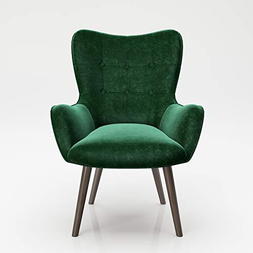 PLAYBOY Sessel mit Massivholzfüssen, Samt in Grün/Petrol, Bestickung und Keder, Samtbezug, Retro-Design für Wohnzimmer, Schlafzimmer, Lounge oder Lesebereich, Ohrensessel in verschiedenen Farben