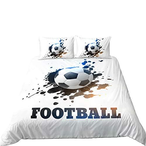 Andrui Funda Nórdica 3D Fútbol Estilo Deportivo Los Hombres Niño Super Suave Comodo Impresión de fútbol Ropa de Cama (Fútbol 4, 150×220cm (para Cama de 90))