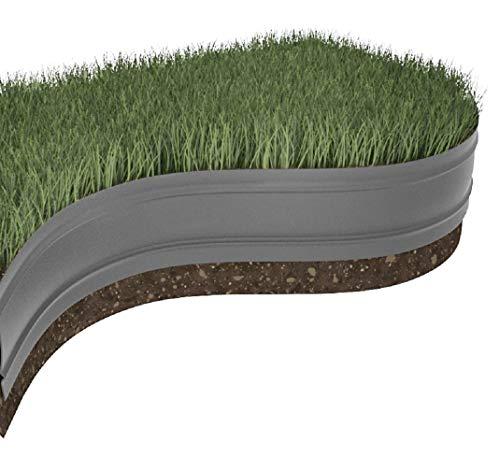 Windhager Rasen-und Gestaltungskante 06099-Bordo Elastico per aiuole, 8 m x 12,5 cm, Nero/Grigio
