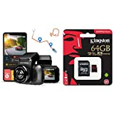 REXING V5 Dash Cam 4K Modular CapabilitiesWiFi GPS Parking Monitor, Supercapacitor, Voice Control & Kingston Canvas React 64GB 100MB/s (U3 A1) microSDXC Memory Card with Adapter