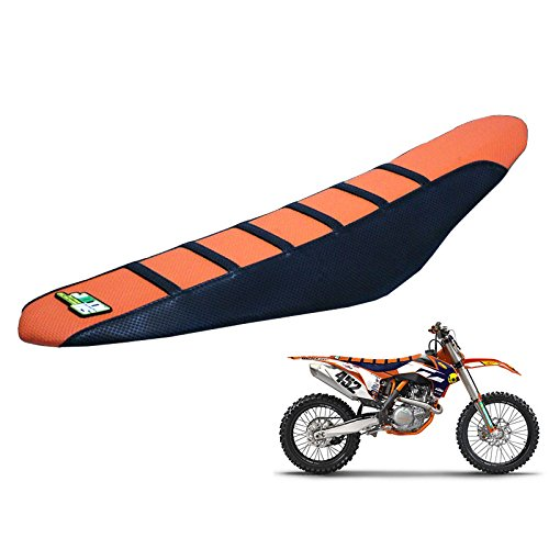 JFGRACING Orange / Noir Gripper Housse Selle Moto pour 85 105 125 150 200 250 300 350 450 500 525 SX SXF EXC XCW 11-15