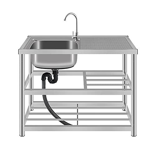 HYDL Organizador Fregadero Cocina, Fregadero de cocina de acero inoxidable con grifo Fregadero comercial de 1 compartimento con escurridor / estante - Tamaño 100x45x80cm, Plateado