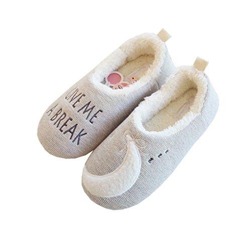 ADOROU Super Weiche Damen Pantoffeln Hausschuhe Micro-Fleece Schlappen mit Stern&Mond Stickerei Winterschuhe Warme Herbst Winter Flip Flops Slipper 36-37 EU GRAU